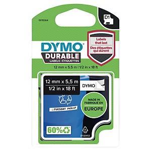 Merketape Dymo D1 Durable, 12 mm, sort/hvit, 5,5 m