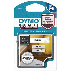 DYMO D1 1978364 DURABLE TEXTBAND 12MM SVART/VIT