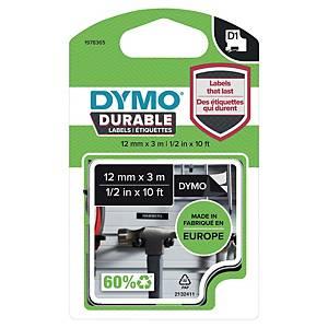 Merketape Dymo D1 Durable, 12 mm, hvit/sort, 3 m