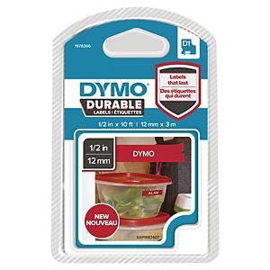Ruban Dymo D1 Durable - 12 mm - blanc sur rouge