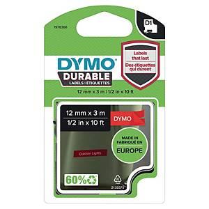 Ruban pour étiquettes Dymo D1 Durable, ruban adhésif, 12 mm, blanc sur rouge