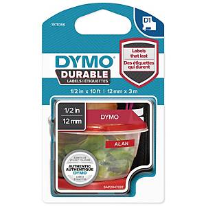 DYMO D1 1978366 DURABLE TEXTBAND 12MM VIT/RÖD