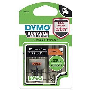 Dymo D1 Durable etiketteerlint op tape, 12 mm, zwart op oranje