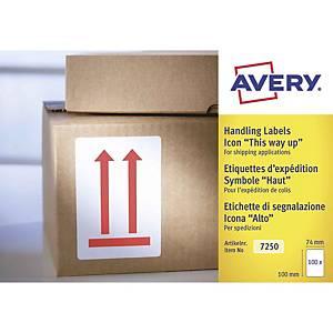 Etichette avvertenze per spedizioni alto Avery 7250 74x100mm - conf. 200