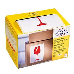 Avery címke, 7251,  FIGYELEM! törékeny , 200 darab/csomag