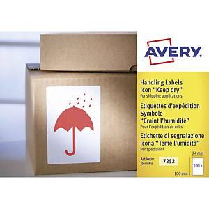 Etichette avvertenze per spedizioni teme umidità Avery 7252 74x100mm - conf. 200