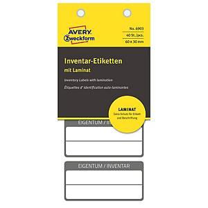 Etichette inventario Avery 6903 autoplastificate 60x30mm - conf. 40