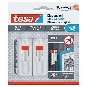 Clou adhésif ajustable Tesa Powerstrips - pour objets jusqu à 1 kg - étui de 2