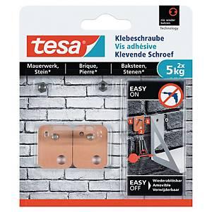 Vis adhésive rectangulaire Tesa - supporte jusqu à 5 kg - paquet de 2