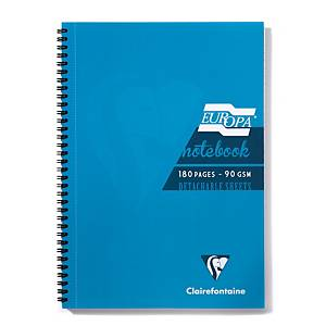 Europa Wirebound Side Bound Notebook, A4, 90G, Lined, 60 Sheets - Turquoise