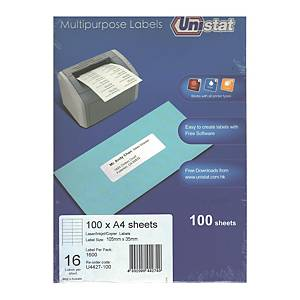 Unistat U4427 Label 105 x 35mm - Box of 1600 Labels