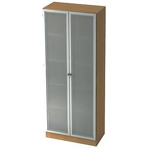 Schrank mit Glastüren, 4 Böden, Maße: 80x200,4x42cm, buche, Montageservice