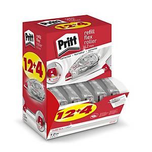 Pritt Refill Flex navulbare correctieroller, 4,2mm x 10m, value pack 12+4 gratis