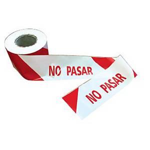 Cinta de señalización   No pasar   - 200 m - rojo/blanco