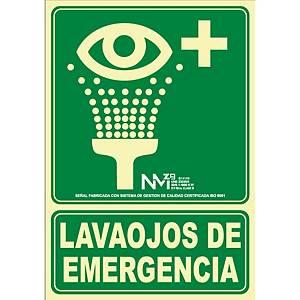 Placa   Lavaojos de emergencia   - PVC fotoluminiscente - 22,4 x 300 mm