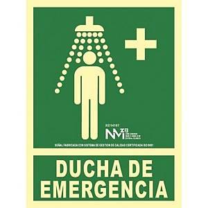 Placa   Duche de emergência   NORMALUZ de PVC fotoluminescente 22,4 x 300 mm