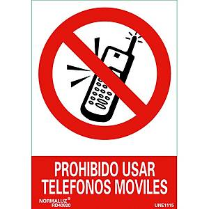 Placa   Proibido telemóveis   NORMALUZ de PVC fotoluminescente 210 x 300 mm