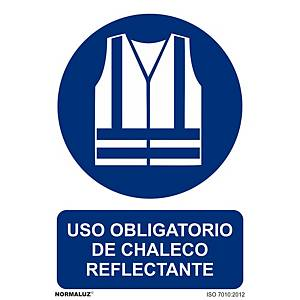Placa   Obrigatório colete   NORMALUZ de PVC fotoluminescente 210 x 300 mm