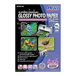 HI-JET กระดาษโฟโต้อิงค์เจ็ทแบบเนื้อมัน A6 270 แกรม 1 แพ็ค บรรจุ 100 แผ่น