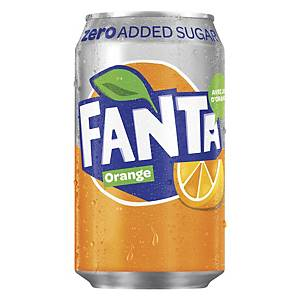 Soda Fanta orange Zero, le paquet de 24 canettes de 33 cl