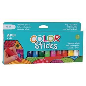 Apli Color Sticks gouache solide 10g couleurs assorties - le paquet de 12