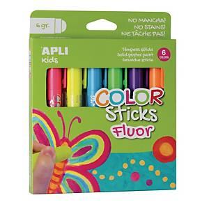 Apli Color Sticks gouache solide 6g couleurs fluo - le paquet de 6