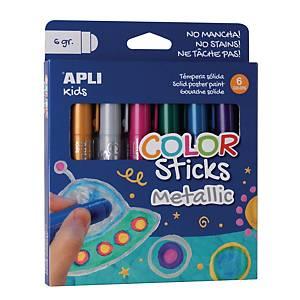 Apli Color Sticks gouache solide 6g couleurs metallic - le paquet de 6