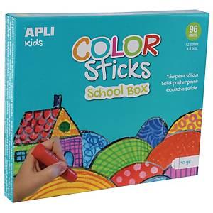 Apli Color Sticks gouache solide 10g couleurs assorties - le paquet de 8 x 12