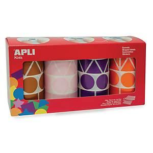 Apli gommettes 4 formes pastel assorties  - 4 rouleaux de 1357 gommettes