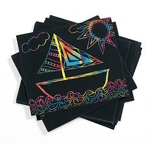 Colorations regenboog kraskaarten, 152 x 127 mm, zwart, per 100 stuks