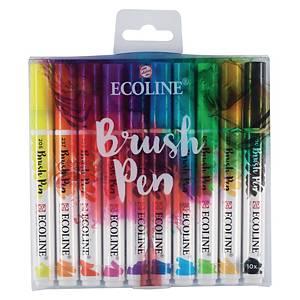 Talens Ecoline Brush Pen waterverf, assorti kleuren, pak van 10 pennen