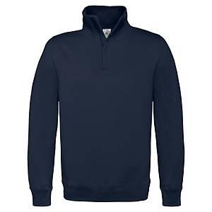 Sweat col zippé B&C - bleu marine - taille L