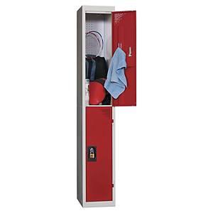 Vestiaire EVP - 1 colonne - 2 cases - l. 30 cm - rouge