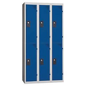 Vestiaire EVP - 3 colonnes - 6 cases - l. 120 cm - bleu