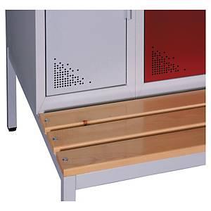 Socle banc EVP pour vestiaire 3 colonnes - l. 90 cm - gris/bois