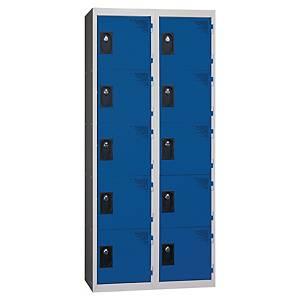 Vestiaire EVP - 2 colonnes - 10 cases - l. 60 cm - bleu