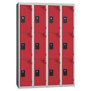 Vestiaire EVP - 4 colonnes - 12 cases - l. 120 cm - rouge