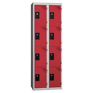 Vestiaire EVP - 2 colonnes - 8 cases - l. 60 cm - rouge