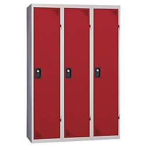 Vestiaire EVP pour industrie salissante - 3 colonnes - l. 120 cm - rouge