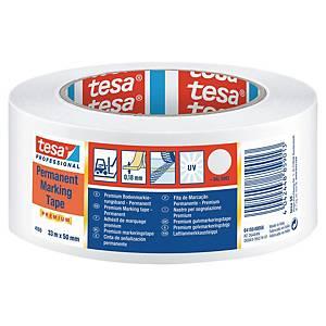 Cinta de señalización adhesiva Tesa PVC - 50 mm x 33 m - blanco