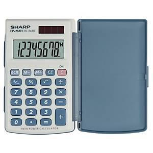 Calculatrice de bureau Sharp EL-243S, affichage de 8chiffres, blanc/bleu