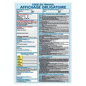 Panneau adhésif PVC - Code du travail affichage obligatoire - A3