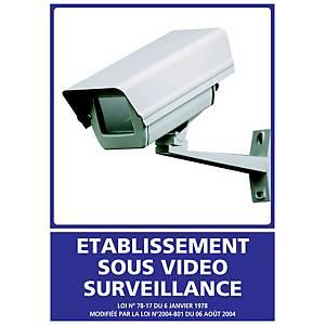 Panneau adhésif PVC - Etablissement sous vidéo surveillance - A5