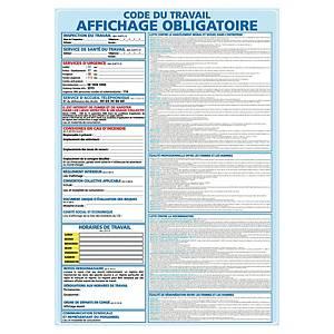 Panneau autocollant - Code du travail affichage obligatoire - A3
