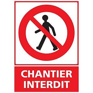 Panneau adhésif PVC - Chantier interdit - A5