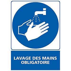 Panneau adhésif PVC - Lavage des mains obligatoire - A5