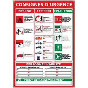 Panneau adhésif PVC - Consignes d urgence - A3