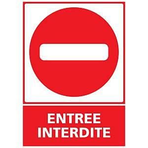 Panneau adhésif PVC - Sens interdit entrée interdite - A5