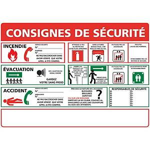 Panneau adhésif PVC - Consignes de sécurité - A3