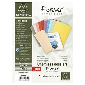 Chemise recyclée Exacompta Forever - coloris assortis - paquet de 100